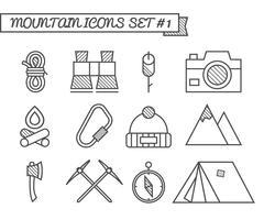Set di campeggio, icone di viaggio, stile di linea sottile, design piatto. Tema di alpinismo con tenda turistica, ascia e altri elementi di equipaggiamento. Isolato su sfondo bianco Vettore