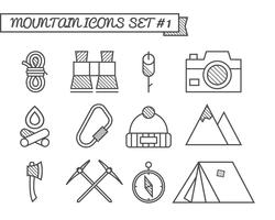 Conjunto de camping, iconos de viaje, estilo de línea fina, diseño plano. Tema de escalada de montaña con carpa turística, hacha y otros elementos de equipamiento. Aislado en el fondo blanco Vector