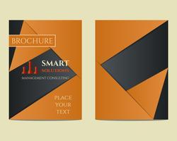 Solutions intelligentes Brochure et dépliant a4 modèle de conception de taille avec concept de mots-clés de gestion Consulting. Idéal pour la société de conseil en gestion, etc. Conception géométrique unique. Vecteur
