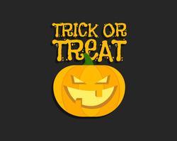 Truco o trato. Cartel de Halloween con letras de mano y calabaza. Diseño plano sobre fondo oscuro. Vector