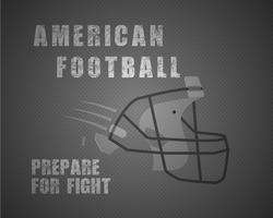 El cartel único moderno del fútbol americano con cita de la motivación se prepara para la lucha en punteado como fondo y casco elegantes de la bola. Diseño vectorial inusual