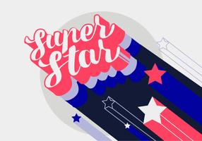 Super Star Hand Lettering Cool Retro Typografi Vector