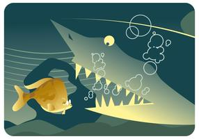 Shark and Tentist Fish Vector