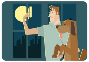 Selfie-with-my-dog-vector