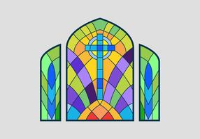 Cross Stained Glass Window Vector Illustration