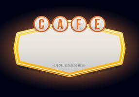 Vintage Cafe of restaurantborden. Retro vintage café of restaurant teken.