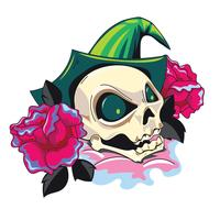 Illustration of Skull in Witch Hat and Rose with New Skool Tattoos Style