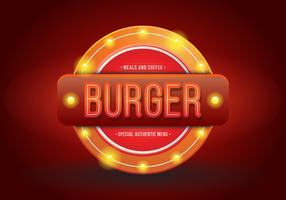 Vintage Burger of restaurantborden. Retro vintage hamburger of restaurant teken.