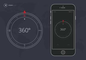 Compass on Dark Background. Compass Application on Mobile.  Vector Illustration.
