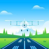 Biplane Runway Vector