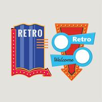 Retro or Vintage signs template Set with Glowing Lamp