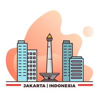 Orgullo plano de Monas Yakarta Indonesia con ilustración de Vector de fondo degradado