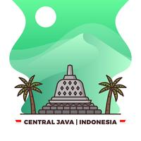 Templo plano de Borobudur en Java Central Orgullo indonesio con gradiente de fondo Vector Illustration