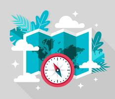 Compass Travel Vector Illustration