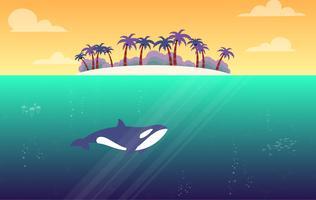 Illustration vectorielle de paysage d'été