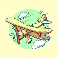Flying Cartoon Biplane Vector