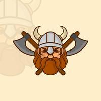 Mascota plana de Viking con el casco y la ilustración del vector de los ejes
