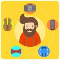 Flacher Hippie-Charakter und Elemente mit moderner sauberer Hintergrund-Vektor-Illustration