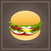 Comida rápida realista de la hamburguesa con la ilustración del vector del fondo del gradiente