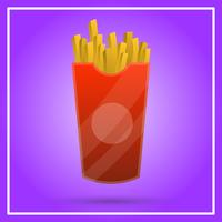 Realistic Fries Fast Food With gradient Background Vector Illustration