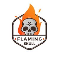 Flat Modern Minimalistisk Flammande Skull With Gradient Flame Bakgrund Vector Illustration