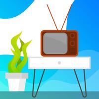 Televisión plana retro con ilustración de Vector de fondo degradado