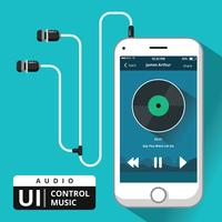 audio music control ui vector