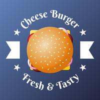Cheese Burger Fast Food Top View Emblem Illustration