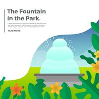 Flat Fountain With Gradient Park Background Vector Illustration