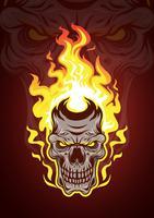 Vetor de crânio em chamas