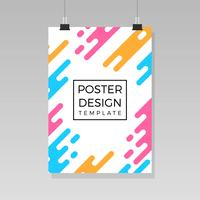 Platt affischsmall med gradient bakgrundsvektor