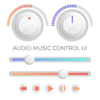 Platte moderne minimalistische Audio-besturingselement UI sjabloon Vector
