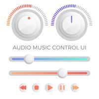 Vector de plantilla de IU de control de audio minimalista plana moderna