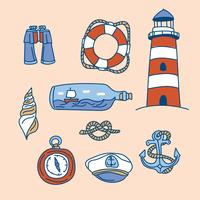 Doodled Nautical Elements vector