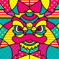 Lion Head Chinesse Modern Pop Art Vector