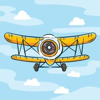 Hand Drawn Yellow Biplane Vector