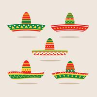 Flat Illustration Set of Sombrero