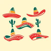 Flat Illustration Traditional Mexican Wide Brimmed Sombrero Hat