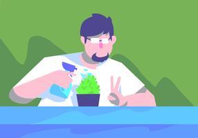 Selfie Pflanze bewässert