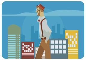 Walking Hipster Dude Vector
