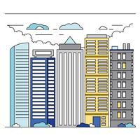 Vector Line Art Cityscape Illustration