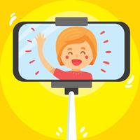 Girl Selfie On Yellow Vector