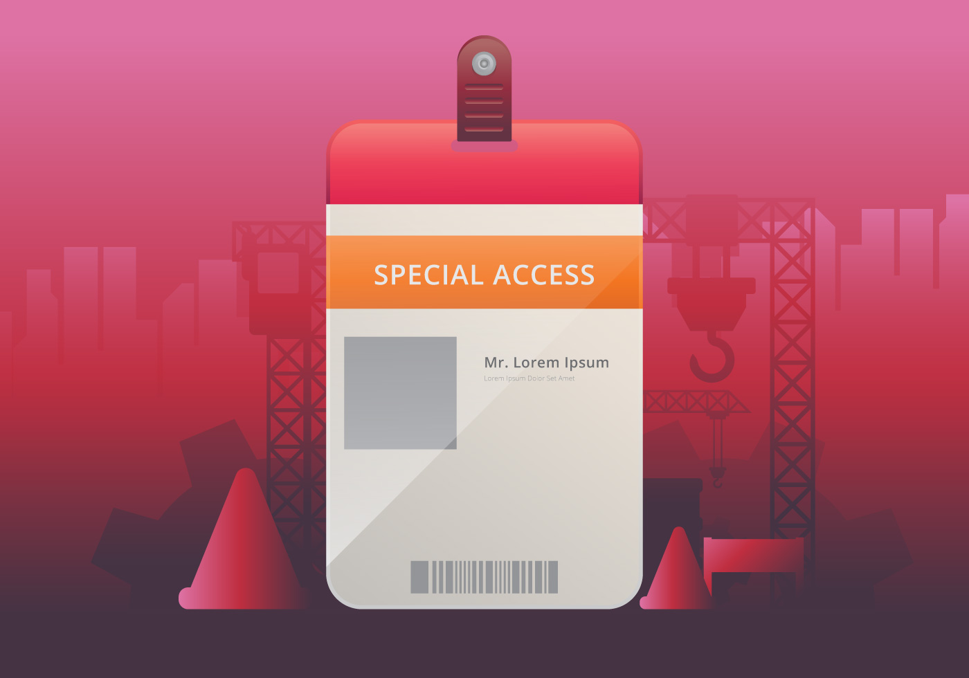 Vip Pass Id Card Template Realistic Blank Vertical Id For Construction Theme Mockup Download Free Vectors Clipart Graphics Vector Art