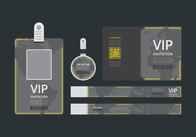 VIP Pass ID card Template. VIP Pass for Event Template. Flat Blank Vertical ID with yellow lines. Mockup.