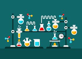 Chemie-Experiment-Vektor-Illustration