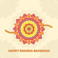 Flat Happy Rakhi Greetings With Mandala Background Vector Illustration