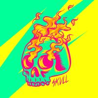 Flammande Skull Patch Vector