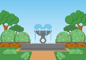 Fountain Landscape Vector Illustration