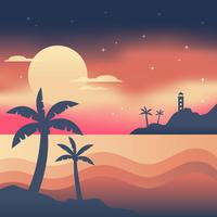 Vector de playa de noche