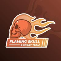 Crâne flamboyant plat moderne minimaliste avec fond de flamme dégradé Illustration vectorielle